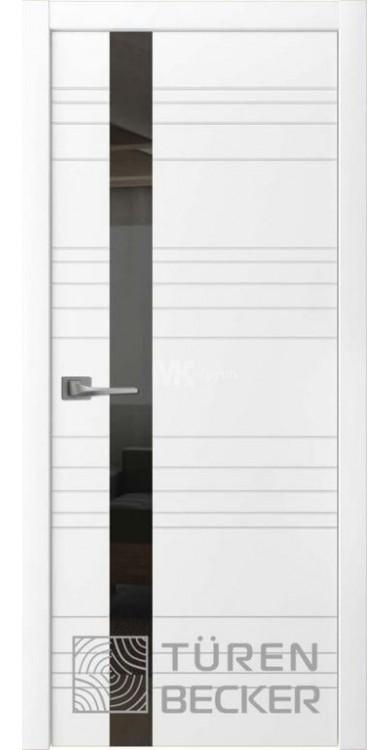 Дверь Соммер ПО (стекло - черный лакобель) белая эмаль